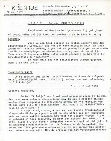 Oirlo's dorpsblad 't Krèntje 1970-05-22