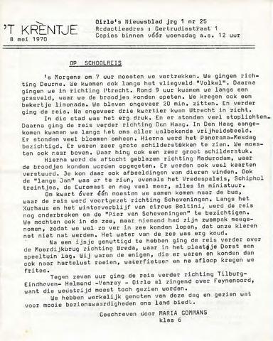 Oirlo's dorpsblad 't Krèntje 1970-05-08
