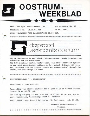 Oostrum's Weekblad 1987-05-14
