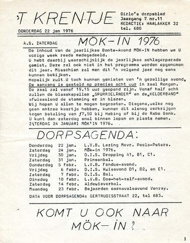 Oirlo's dorpsblad 't Krèntje 1976-01-22
