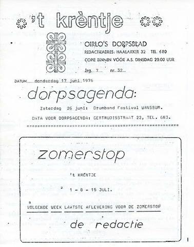 Oirlo's dorpsblad 't Krèntje 1976-06-17