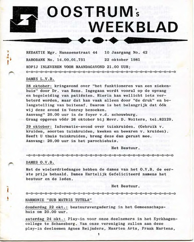 Oostrum's Weekblad 1981-10-22