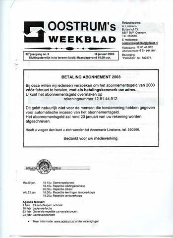 Oostrum's Weekblad 2003-01-16