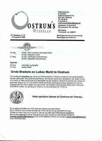 Oostrum's Weekblad 2008-08-22