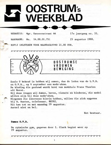 Oostrum's Weekblad 1988-08-25