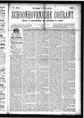 Schoonhovensche Courant 1896-11-21
