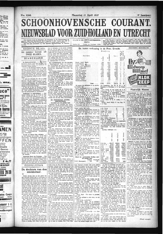 Schoonhovensche Courant 1927-04-11