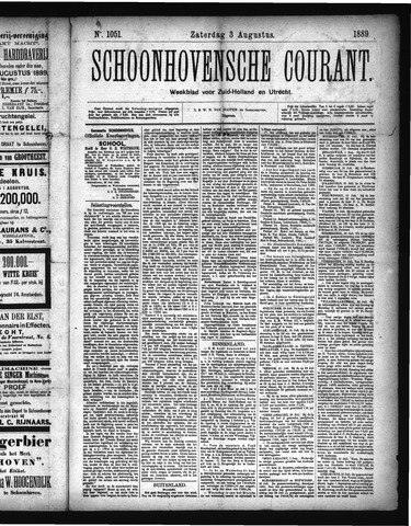 Schoonhovensche Courant 1889-08-03