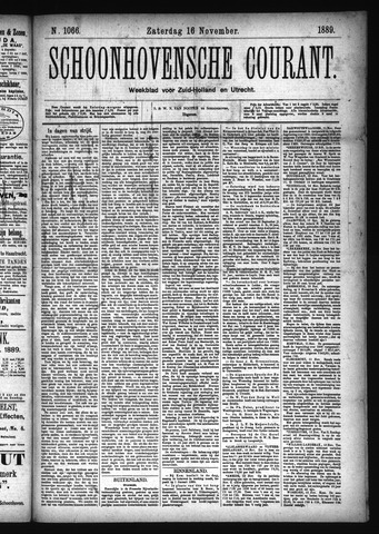 Schoonhovensche Courant 1889-11-16