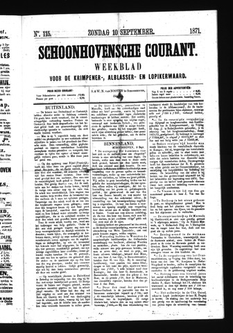 Schoonhovensche Courant 1871-09-10