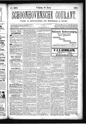 Schoonhovensche Courant 1918-06-28