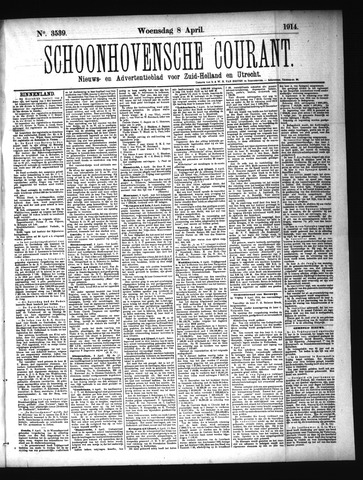 Schoonhovensche Courant 1914-04-08