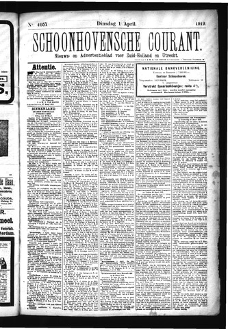 Schoonhovensche Courant 1919-04-01