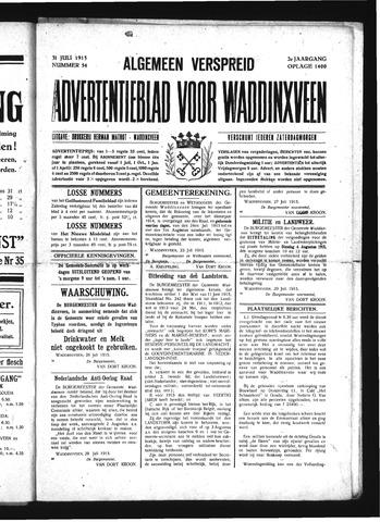 Advertentieblad Waddinxveen 1915-07-31