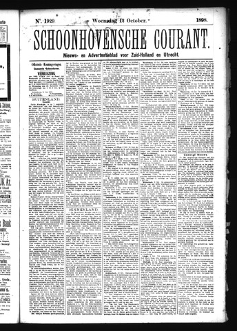 Schoonhovensche Courant 1898-10-12