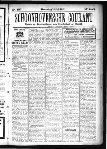Schoonhovensche Courant 1921-07-13
