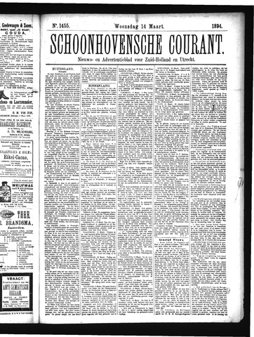 Schoonhovensche Courant 1894-03-14