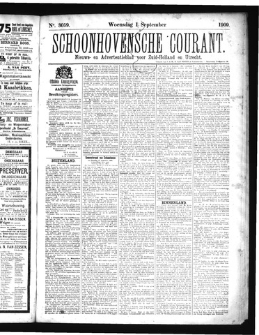 Schoonhovensche Courant 1909-09-01
