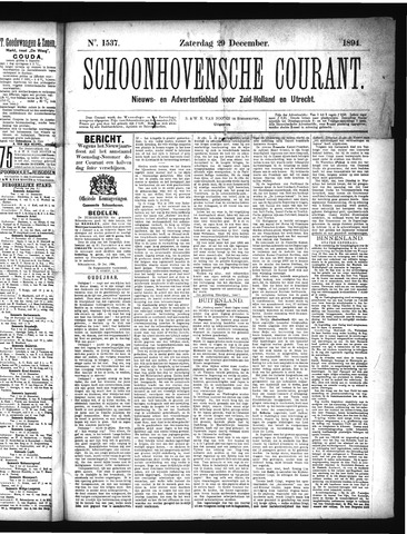 Schoonhovensche Courant 1894-12-29