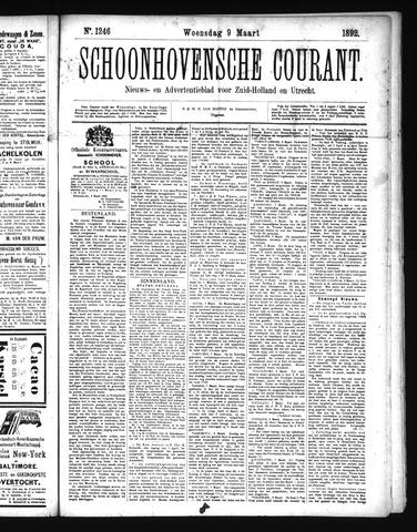 Schoonhovensche Courant 1892-03-09