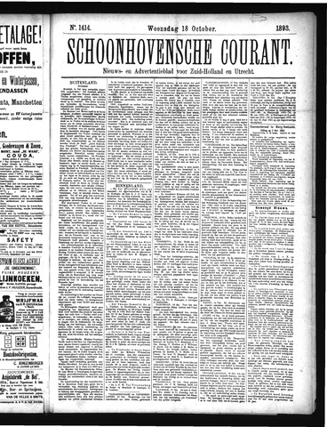 Schoonhovensche Courant 1893-10-18