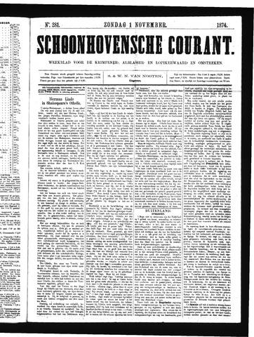 Schoonhovensche Courant 1874-11-01