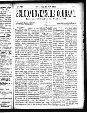 Schoonhovensche Courant 1891-11-11