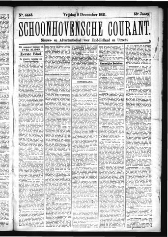 Schoonhovensche Courant 1921-12-09