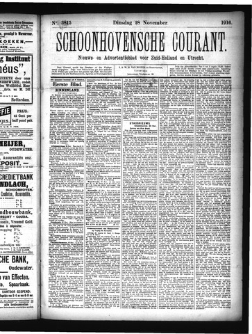 Schoonhovensche Courant 1916-11-28