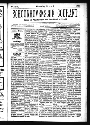 Schoonhovensche Courant 1908-04-15