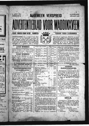 Advertentieblad Waddinxveen 1916-05-06