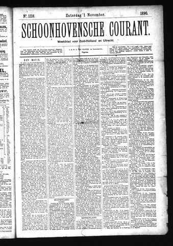 Schoonhovensche Courant 1890-11-01
