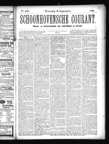 Schoonhovensche Courant 1894-09-26