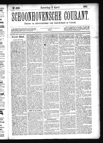 Schoonhovensche Courant 1892-04-02