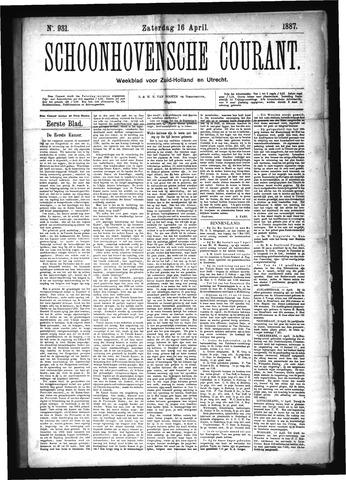 Schoonhovensche Courant 1887-04-16