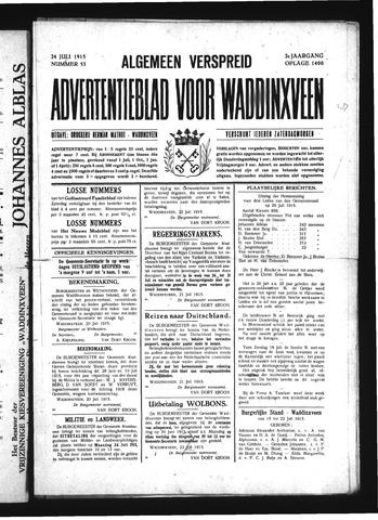 Advertentieblad Waddinxveen 1915-07-24