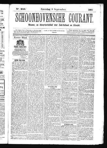 Schoonhovensche Courant 1905-09-09
