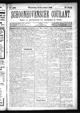 Schoonhovensche Courant 1920-11-10