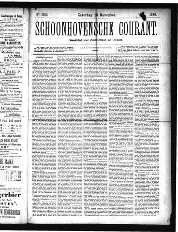Schoonhovensche Courant 1888-11-10