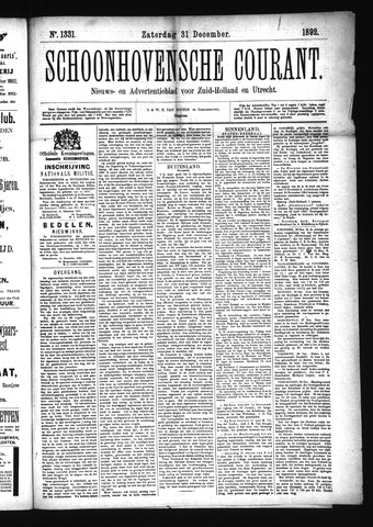 Schoonhovensche Courant 1892-12-31