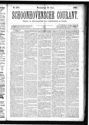 Schoonhovensche Courant 1892-06-29