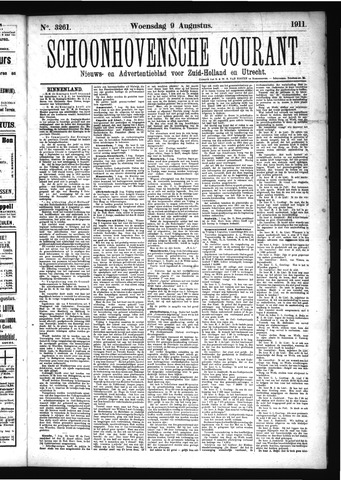 Schoonhovensche Courant 1911-08-09