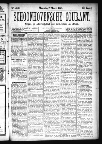 Schoonhovensche Courant 1921-03-07
