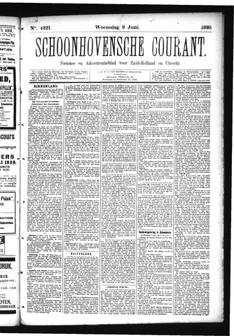Schoonhovensche Courant 1920-06-09