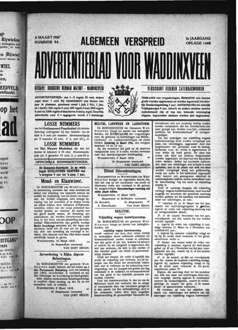 Advertentieblad Waddinxveen 1916-03-11