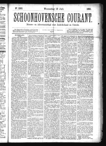 Schoonhovensche Courant 1892-07-13