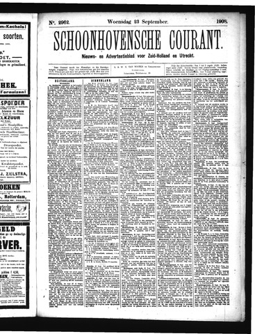 Schoonhovensche Courant 1908-09-23