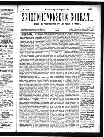 Schoonhovensche Courant 1898-09-21