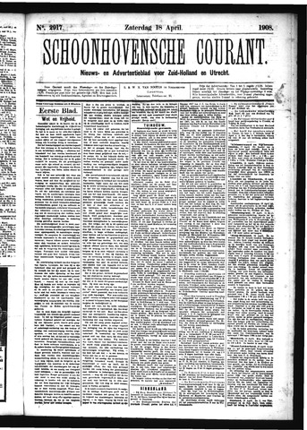 Schoonhovensche Courant 1908-04-18