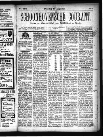 Schoonhovensche Courant 1916-08-15